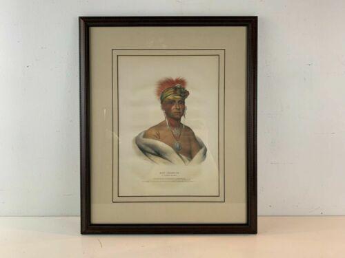 1842 Mon-Chonsia, Kansas Portrait Native American McKenny Lithograph Framed