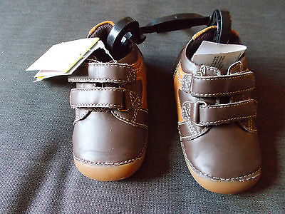 M&S Leather 'Walkmates' Double Rip-Tape Strap Shoes UK2 EU18 Brown Mix BNWT, used for sale  Shipping to Nigeria