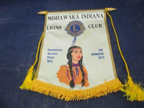 Vintage Lions Club International Banner Flag Mishawaka Indiana The Princess City