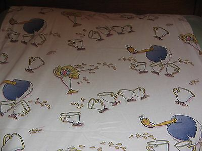 VINTAGE BEAUTY & THE BEAST CURTAIN PANEL 39 x 84  / CHIP / DUSTER  DISNEY FABRIC