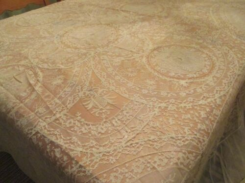 """ANTIQUE LACE ELEGANT FRENCH NORMANDY TAMBOUR BEDSPREAD 89""""W x 104""""L"""