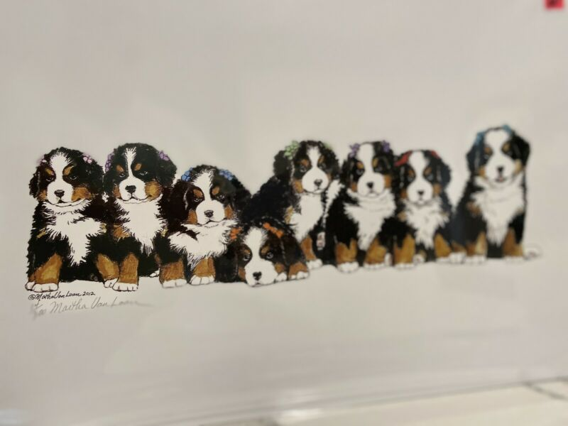 bernese mountain dog Puppies Ltd Ed Signed 11x14 Print By Van Loan