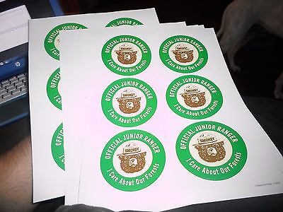 Lot of 30 (5 sheets of 6) Official Junior Rangers Smokey The Bear Stickers