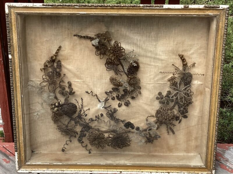 "Victorian Era Antique Hair Art Glass Wooden Frame 24"" X 29"" Large Piece Delicate"