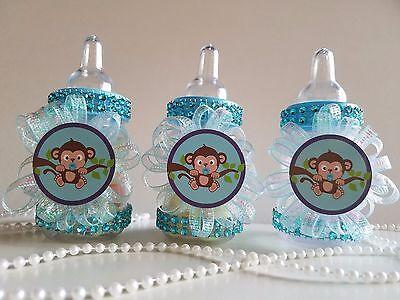 12 Monkey Blue Fillable Bottles Baby Shower Boy Favors Safari Jungle Noah Animal (Safari Blue Baby Shower)