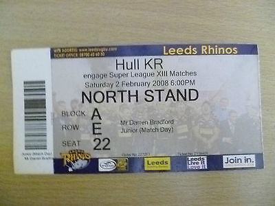 Rugby Match Ticket- 2008 Engage Super League XIII- LEEDS RHINOS- HULL KR