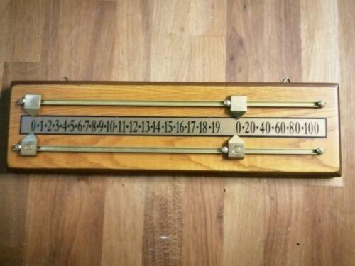 Oak 2 player snooker scoreboard EX DEMO , brass scorers + wall hooks