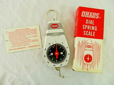Ohaus Dial (Vintage OHAUS Dial Spring Scale Box Instructions Model 8014 Made USA New Jersey )