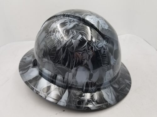 FULL BRIM Hard Hat custom hydro dipped , NEW PARADISE LOST SKULLS GUNMETAL NEW 1