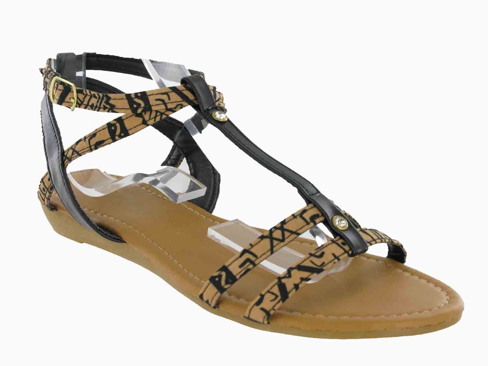 436fbc1b6ca Open Toe Flip Flop Buckle Small Wedge Summer Womens Studded Sandals UK3-9