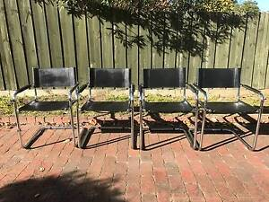 Matteo Grassi LEATHER CHROME BAUHAUS CANTILEVER STAM Chairs x 4 Greensborough Banyule Area Preview