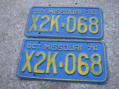 OCT 1976 ORIGINAL Vintage X2K 068 Missouri License Plate MO