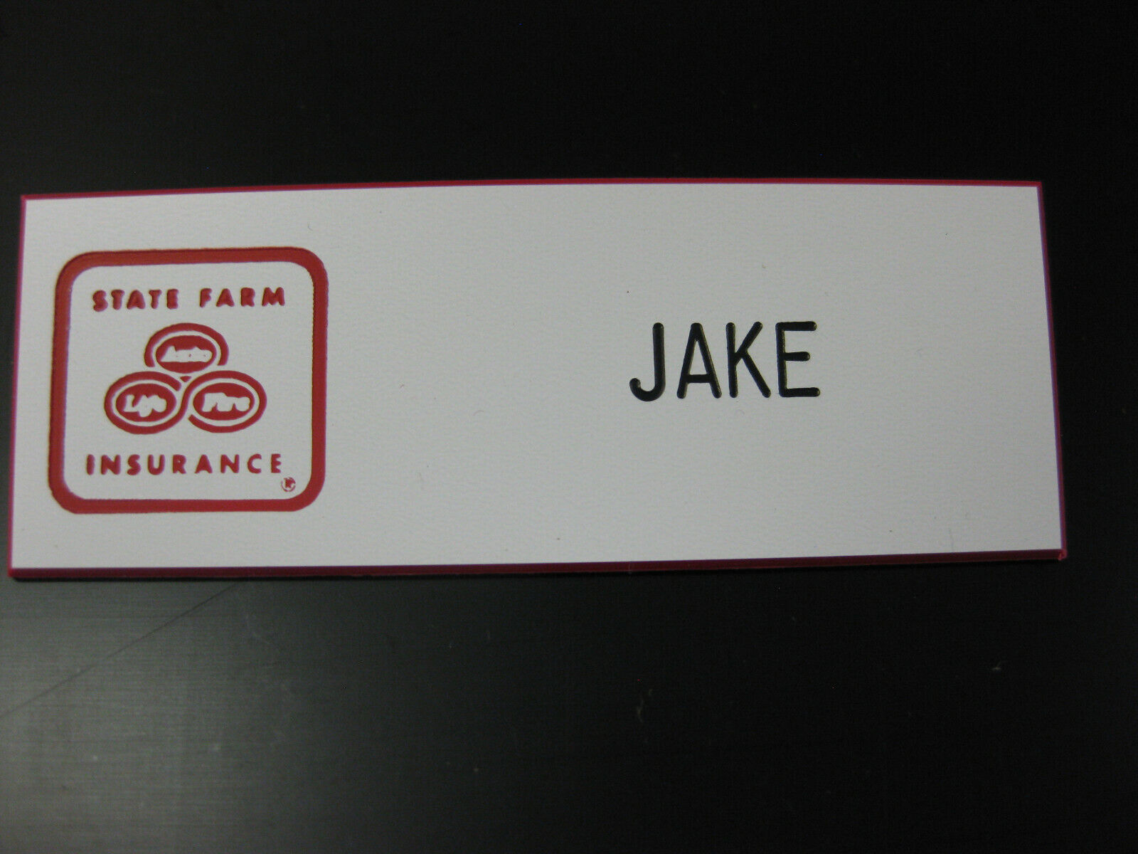 JAKE From STATE FARM Insurance Name Tag Badge Pin Backed - $6.95
