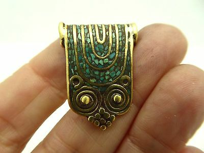 Vintage Tibetan Artisan Handmade Natural Turquoise Brass Inlay Pendant Amulet