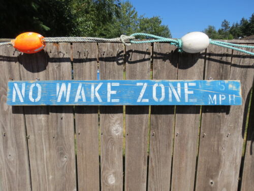 48 INCH WOOD HAND PAINTED NO WAKE ZONE 5MPH SIGN NAUTICAL SEAFOOD (#S800)