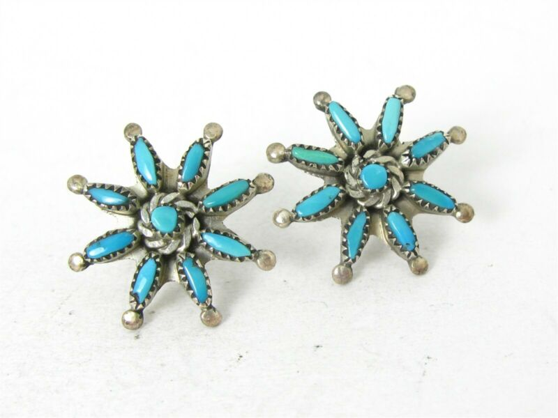 Vintage Sterling Silver Natural Turquoise Needlepoint Zuni Stud Earrings 3g B45