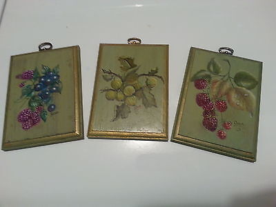 """Hand Painted Wooden Wall Plates. Very nice. One of a Kind!! """"LOOK"""""""