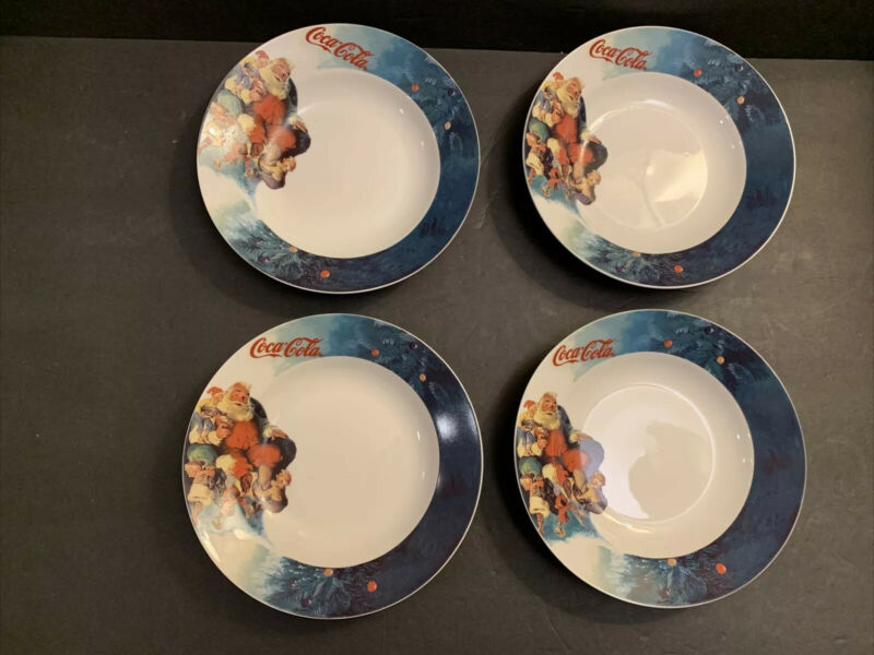 "Coca Cola Gibson Santa & Elves Christmas Set Of 4 Soup Bowls 8"" VTG 1998"