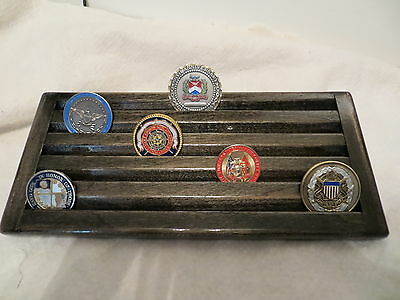 Military Coin Display - Military Challenge Coin /Casino Chips Wood Display Holder 5 Tier ->EBONY