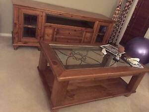 Timber TV Cabinet and matching coffee table Picnic Point Bankstown Area Preview
