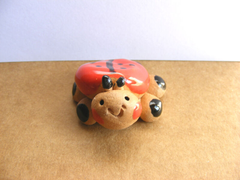 Little Guys Ladybug, Miniature Animal Figurine, Cindy Pacileo, Pottery, Wildlife