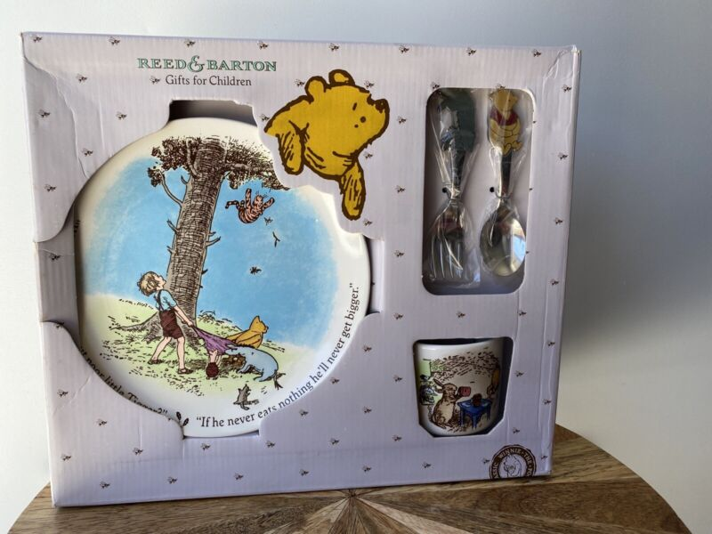 Reed & Barton Baby Classic Pooh Plate & Cup - Stainless Steel Fork & Spoon NIB