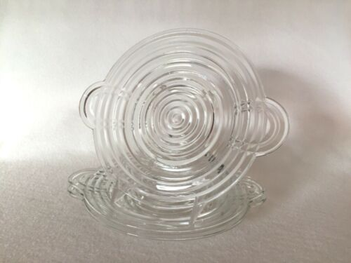 3 Crystal Go-With Manhattan Art Deco Tab Handle Plates Anchor Hocking Glass