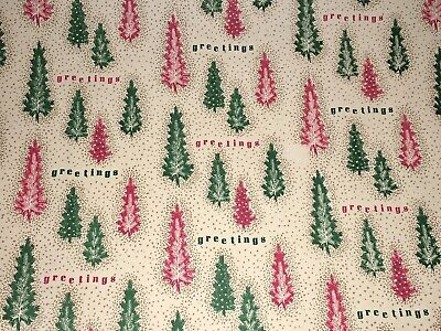 VTG CHRISTMAS GREETINGS WRAPPING PAPER GIFT WRAP RED GREEN TREES 1950 NOS