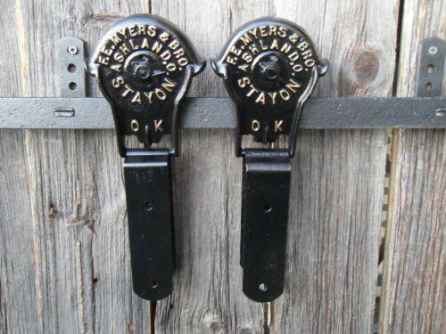 ANTIQUE/PRIMITIVE ORIGINAL BARN DOOR ROLLERS F.E MYERS ASHLAND OHIO RESTORED