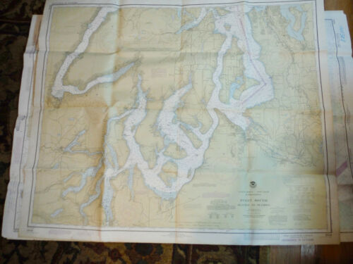 NOAA NAUTICAL CHART #18448 PUGET SOUND 1977 SEATTLE TO OLYMPIA, WALLPAPER CRAFTS