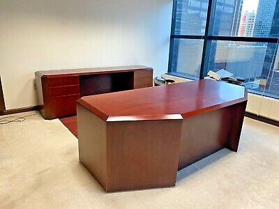 7 12 Exec Set Desk Credenza By Cumberland Office Furniture In Mahogany Wood