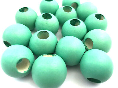 20 pcs Large Seagreen Green Wood Beads Round 25mm Bead Jewelry Wooden Macrame g2 - Large Wood Beads