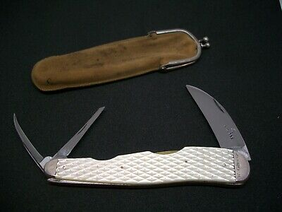 Antique Rodgers Knife 1830s, Diamond Carved Pearl Handles With 220 Silver Pins