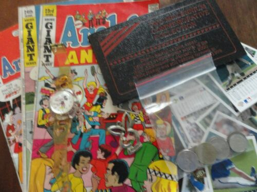 Junk Drawer Lot Baseball Cards, Jewelry,Archie Comics, Coins Nice Assortment