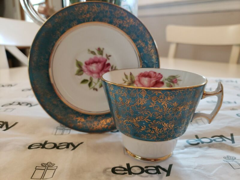 STAFFORDSHIRE HOUSE BONE CHINA  ROSE TEA CUP AND SAUCER With Gold Trim