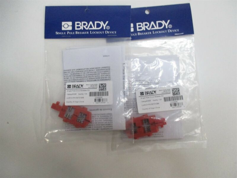 Brady 65387 Breaker 1P Lockout Snap-On with Holes in Switch Tongue Lot Of 2