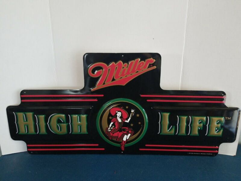 (VTG) miller high life beer girl on the moon tin bar sign neon looking game room
