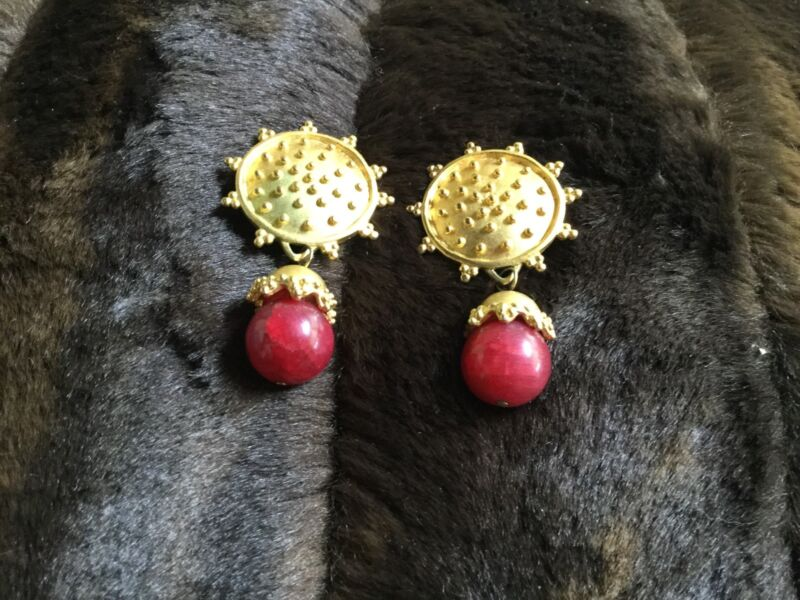 Gold Tone and Red Clip On Earrings