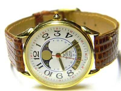 mens Waltham Moonphase Collection Date gold plated white face watch XY 200 012