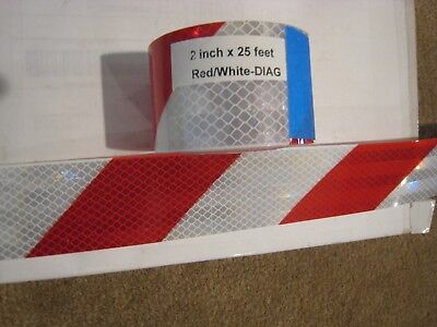 "WHITE RED Reflective Diagonal Stripe  Conspicuity Tape 2"" x 25"