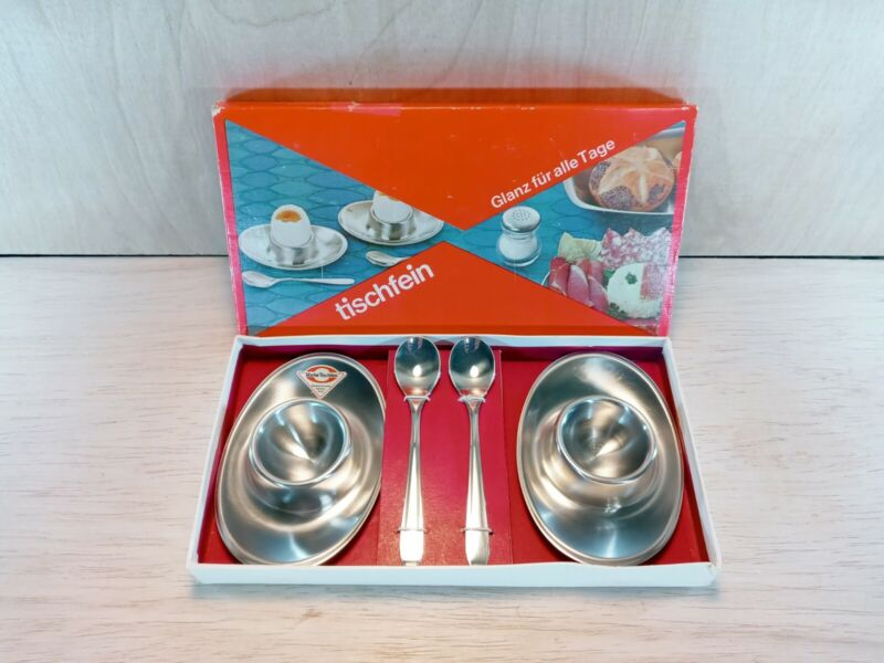 Tischfein New Old Stock Egg Cups Soft Boiled with Spoons Stainless Steel VTG