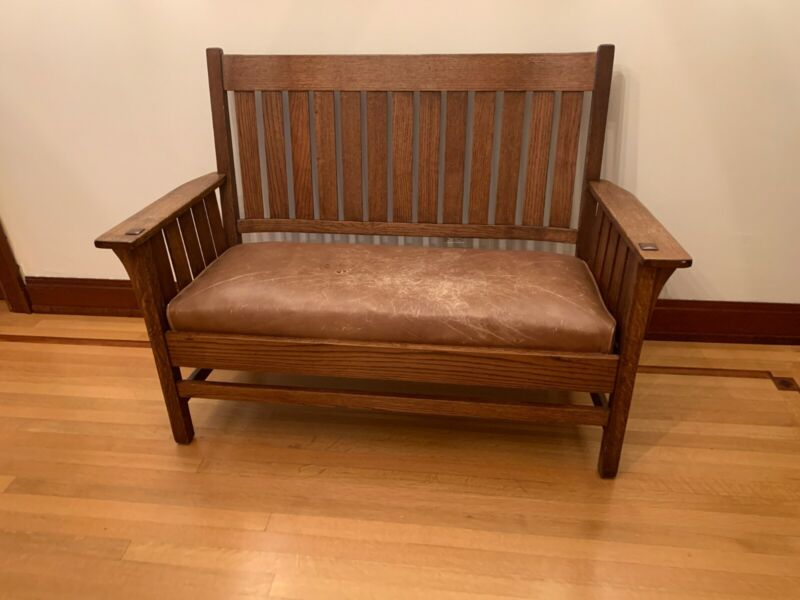 **REDUCED*ANTIQUE oak Mission- Arts and Crafts Style- BENCH with Leather Cushion