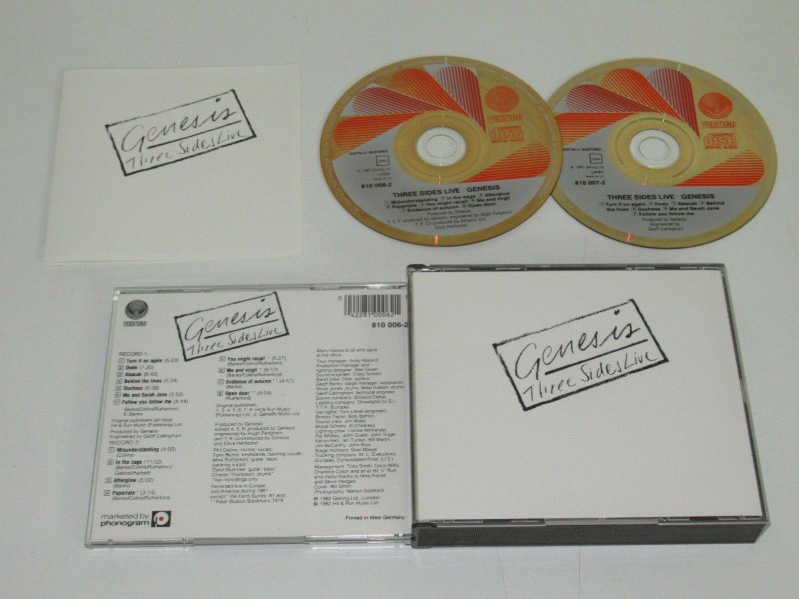 1982 Genesis Three Sides Live Double Disc 2 CD Set Red Vertigo Design IMPORT