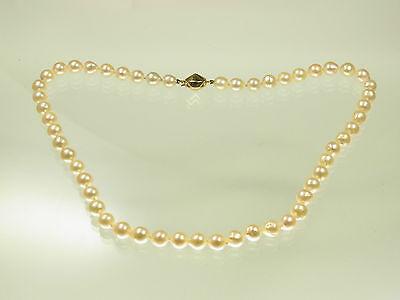 Schöne Akoya Zuchtperlen Kette mit 585 GG Diamantschloß 4 kl. Diamanten 45 cm