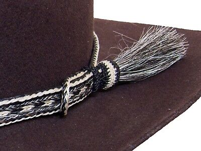Horse Hair Cowboy Hat Band Salt and Pepper With Tassel](Pepper Hat)