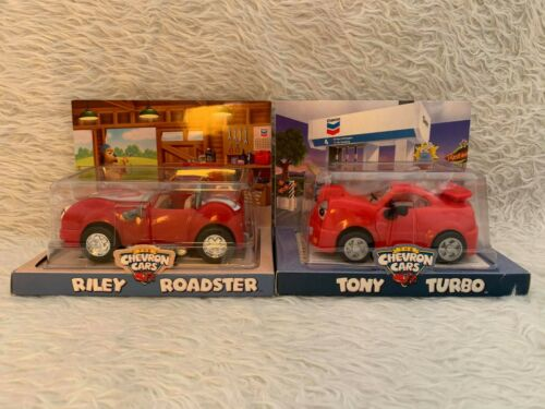 Vintage Retired Chevron Cars Riley Roadster & Tony Turbo - Collectible Car Toys
