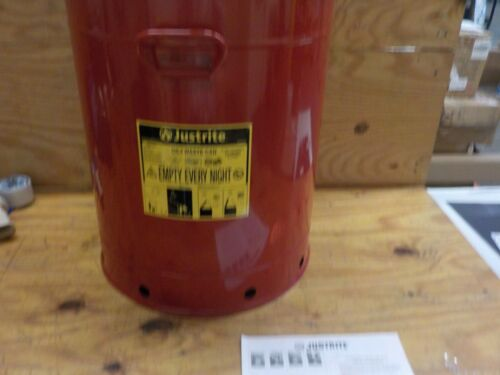 Justrite, 09710, Oily Waste Can, 21 Gal, Steel, Red