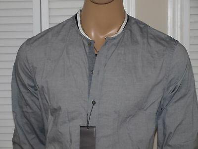 Armani Exchange Authentic L/S Banded Collar Regular Fit Shirt Gray NWT