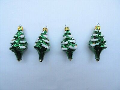 4 vintage style small Christmas tree shaped baubles decorations ornaments