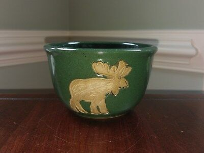 Moose Green Pottery Stoneware Bowl Sign Collection Circle Rustic Cabin Handmade, used for sale  Haymarket